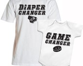 Diaper Changer and Game Changer Daddy shirt and Baby Onesie Set Ultimate Frisbee