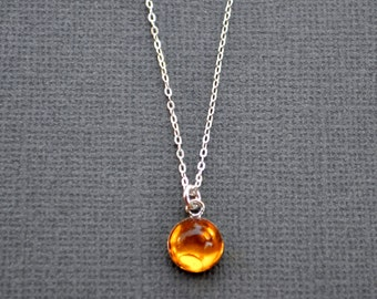 Amber Drop . Sterling Silver Chain . Layering Necklace