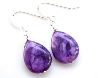 Purple Crazy Lace Agate Gemstone Teardrops . Earrings