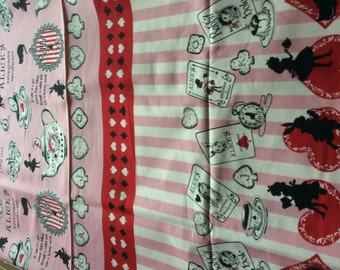 Alice in wonderland pink and red colour fabric one yard