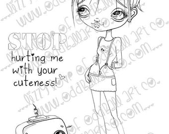 INSTANT DOWNLOAD Digi Stamp Digital Image Kawaii Big Eye Girl and Robot with Sentiment ~ Anne & Droid  Image No.236 by Lizzy Love