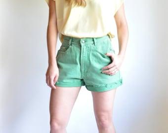 Green High-Waisted Cut-Off Denim Shorts