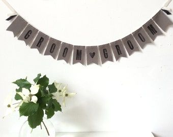 GROOM {HEART} GROOM Wedding Fabric Banner / Sign - Gray - Eco-friendly