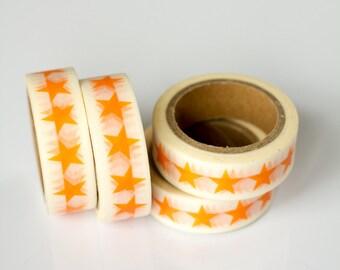 50% OFF SALE - 1 Roll of Orange Stars Masking Tape / Japanese Washi Tape (.60 inches x 33 feet)