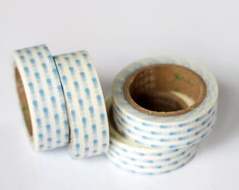 WASHI TAPE CLEARANCE - 1 Roll of Sky Blue and White Polka Dots on White Masking Tape / Japanese Washi Tape (.60 inches x 33 feet)