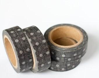 1 Roll of Charcoal Dark Gray Polka Dot Washi Tape / Decorative Masking Tape (.60 inches x 33 feet)
