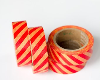 WASHI TAPE CLEARANCE - 1 Roll of Red and Yellow Diagonal Stripe Washi Tape / Decorative Masking Tape (.60 inches wide x 33 feet long)