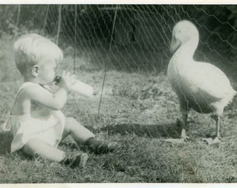 "Vintage Photo ""Cuteness Faceoff"" Duck Kid Goose Snapshot Photo Old Antique Photo Black & White Photograph Found Picture Paper Ephemera - 147"