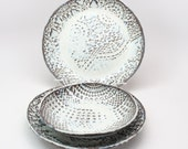 White Pottery, Nesting Bowl Set in Coconut, Serving Bowls, Lace Impressed Pottery, Three White Nesting Bowls MADE TO ORDER