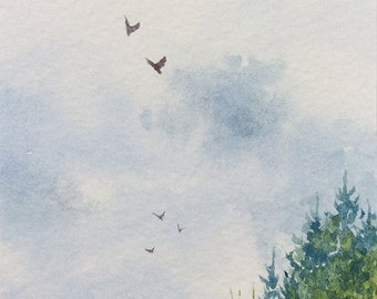 Original ACEO watercolor painting - Higher than the treetops