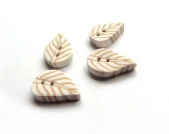 Leaf button, Set of 4 leaf BUTTONS  1,8cm   11/16 inch, white and cream, LEAF buttons polymer clay artisan made, boutons blanc écru crème