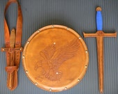 COMPLETE Set - Sword, Dagger, Sword Belt, & Shield w/ EAGLE Emblem - Handmade Leather