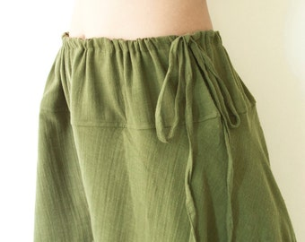 SALE, Cotton Drawstring Wide Leg Pants Boho Comfy Loose Maternity Free Size Casual Pants for Summer in Green