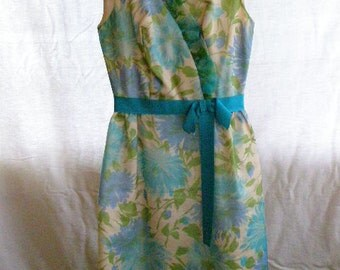 vintage 'garden party' dress, sleeveless green and blue with ruffled collar and blue ribbon at waist