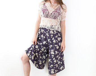 Vintage Japanese Abstract Floral Culottes