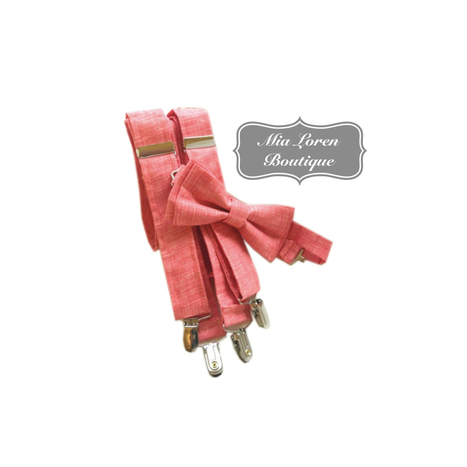 coral suspenders and bow tie set for and by