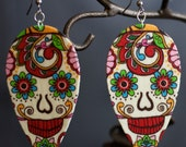 Sugar Skull (Dia De Los Muertos) Paisley style Earrings
