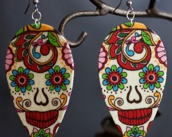 Sugar Skull (Dia De Los Muertos) Paisley style Earrings
