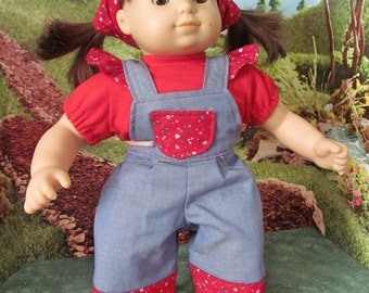 Tee Shirt,  Denim Overalls, Bib Overalls, 15 inch Doll Clothes