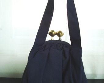 1940's Navy Blue Faille Handbag With Huge Kiss Clasp