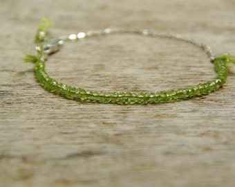 Genuine Peridot Bracelet 925 Silver  Chain Handmade Beaded Gemstones Jewelry Delicate Dainty Bracelet Green Bracelet October Birthstone