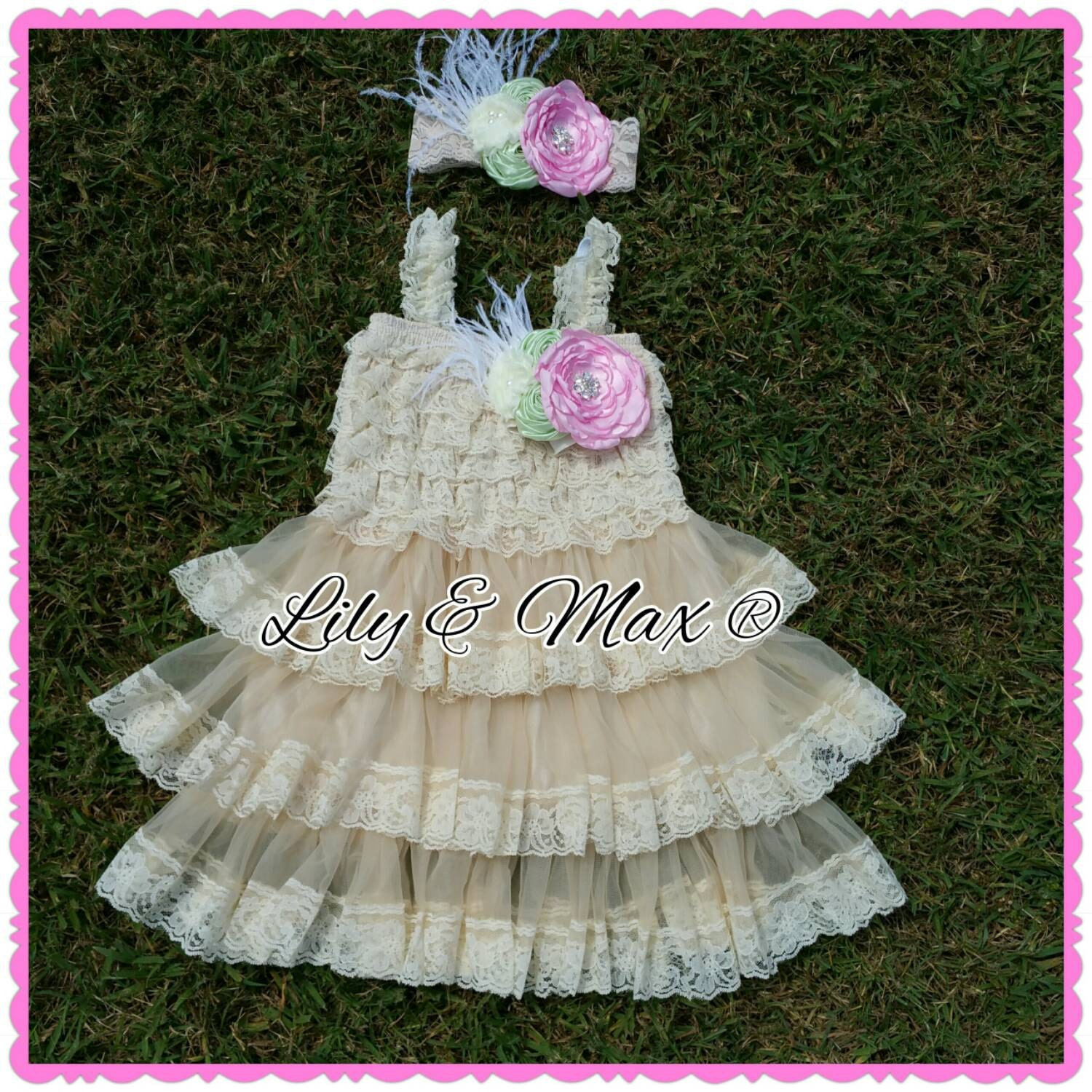 Lace Rustic flower Girl dress pink mint ivory by PoshLilyCouture