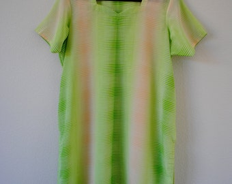 vintage 70s bright colored sheer dress tunic or top. neon green, ivory and white colors. sz 6/8 or medium.