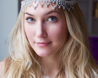 Crystal Rhinestone Headband - Bridal Glass Crystal Rhinestone Diamond Drop Headband