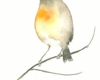 Original Bird Watercolor Painting Orange and Brown Bird