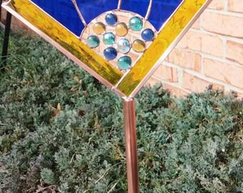 Stained glass Flower Burst garden art stake blue yellow teal green outdoor yard decor garden copper sculpture