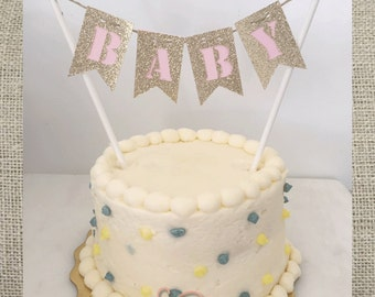 """Custom Two Color Bunting """"Baby"""" Banner Cake Topper"""