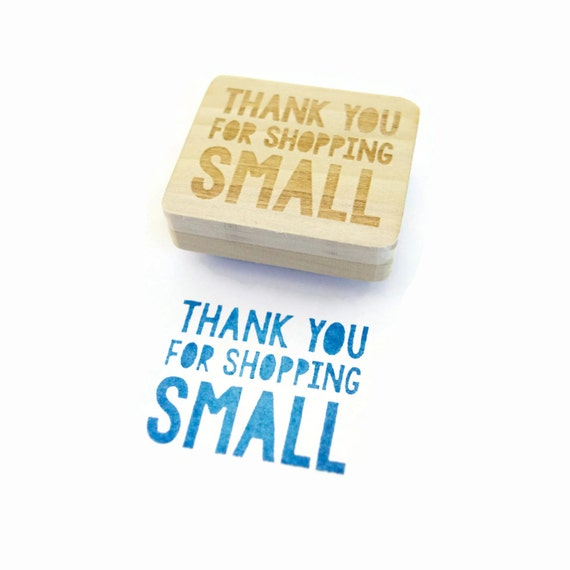 Rubber Stamp Thank You For Shopping Small Stamp Wood By