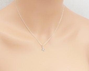Starfish Necklace, Sterling Silver, Dainty Necklace, Wedding Jewelry, Birthday Gift, Starfish Pendant, Anniversary Gift, Beach Gift, BeadXS