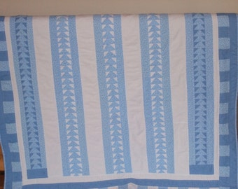 Light Blue Flying Geese Throw Quilt