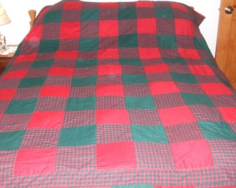 Full Red and Green Plaid Quilt
