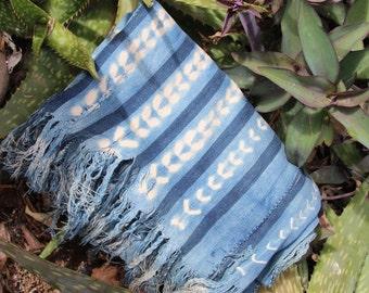 Indigo <<< OOO : Vintage Indigo Strip Cloth from Burkina Faso, West African Tribal Wall Hanging, Beach, Blanket, Sewing, Design Supply