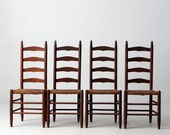 FREE SHIP antique ladder back chairs with rush seat, set of 4 dining chairs