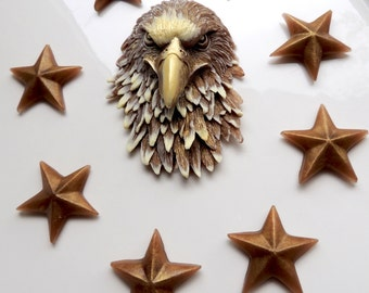 EAGLE SOAP, Golden Eagle with Stars, Bird Soap, For Dad, July 4th Soap, For Him, Patriotic Soap, Military Soap, Star Soap - Custom Scented