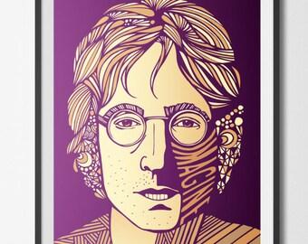 John Lennon Art Print Poster, home wall art decor