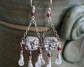 Silver druzy, ruby and rainbow moonstone Art Nouveau chandelier earrings in sterling silver