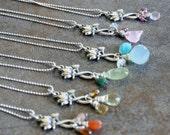 Sterling silver lotus flower pendant with gemstones
