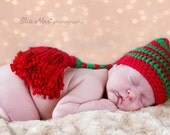 Christmas Photo Prop Hat, Elf Stocking Crochet Red Green White, Newborn Elf Photo Prop Hat, Newborn to 3 Month Size (Item 1602/----/1604)