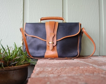 Vtg Dooney and Bourke Briefcase Laptop Bag Attaches British Tan Black Equestrian Legal Brief Lawyer Messenger Pebbled All Weather Leather