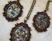 Steampunk Frame Necklaces with Watch Parts and Red Crystals - 3 Designs to Choose From - Great for a Christmas gift!