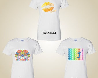 Volleyball graphic t shirts Fleur/Rainbow/Sunkissed