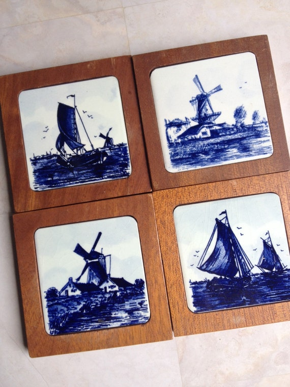 Vintage Teak Windmill Coasters Delft Blue Amp By Myvintagealcove