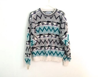 80s geometric HIPSTER tribal oversized sweater