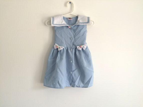 1990s girls plaid / gingham bibbed COTTAGE CHIC dress