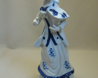 Victorian Lady Figurine Statue Holding Basket Of Fruit Blue On White Flower & Leaves Gold Trim