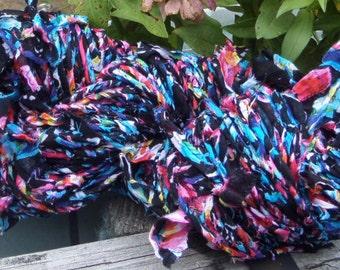 Handspun Yarn, Recycle Fabric Yarn, 112 yards, Hey That's My Skirt, Bulky